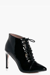 Boohoo Pointed Lace Up Boot Black