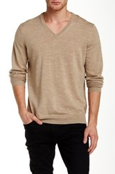 Ben Sherman Merino Wool V Neck Sweater Beige