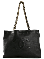 Chanel Vintage Cc Xl Shopper Tote Black