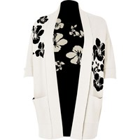River Island Womens Plus White And Black Flower Knit Cardigan