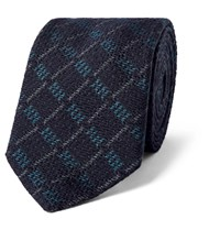 Marwood 7Cm Checked Silk And Wool Blend Tie Blue
