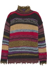 Etro Oversized Striped Wool Blend Sweater Army Green