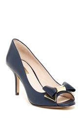 Louise Et Cie Footwear Nikkah Open Toe Leather Pump With Bow Blue