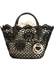 Twin Set Crochet Detail Tote Black