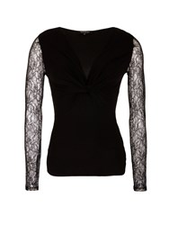 Morgan Jersey And Lace Top Black