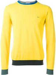 Sun 68 Cuff And Neck Trim Detail 'Giro' Jumper Yellow And Orange