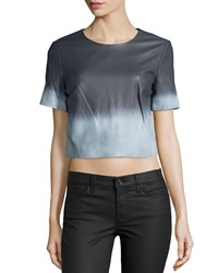 Zac Posen Alex Short Sleeve Ombre Leather Blouse White Summer Storm