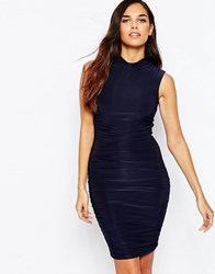 Ax Paris Ruched Bodycon Dress With High Neck Navy Slinky