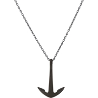 Miansai Oxidized Silver Anchor Pendant Necklace Black
