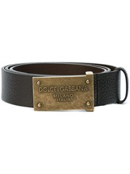 Dolce And Gabbana Embossed Buckle Belt Brown