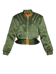 House Of Holland Cropped Satin Bomber Jacket