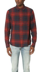 Current Elliott Classic Fit Single Pocket Shirt Brick Plaid