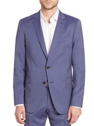 Sand Pinstriped Wool Blend Sportcoat Navy