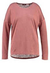 Opus Seconda Long Sleeved Top Rusty Rose Red Metallic