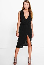 Boohoo Slinky Drape And Wrap Skirt Midi Dress Black