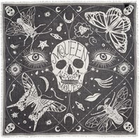 Alexander Mcqueen Black And White Silk Zodiac Skulls Scarf