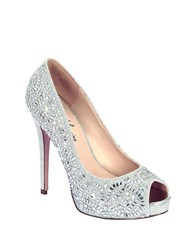 Lauren Lorraine Elissa Embellished Metallic Pumps Silver Sparkle