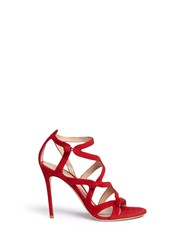Gianvito Rossi Rouleau Loop Button Caged Suede Sandals Red