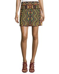 Valentino Geometric Beaded Mini Skirt Multi Multi Colors