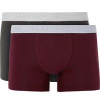 Hanro Two Pack Tretch Cotton Boxer Brief Burgundy