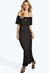Boohoo Laser Cut Bandeau Maxi Dress Black