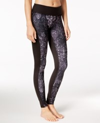 Gaiam Printed Luxe Yoga Leggings Black Patchwork