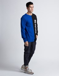 Midnight Studios Black Blue Colorblock L S T Shirt
