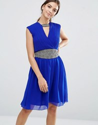 Little Mistress V Neck Skater Dress With Embellished Waist Blue