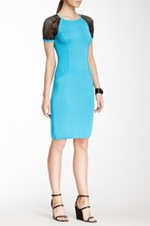 Yigal Azrouel Diamond Colorblock Knit Dress Blue