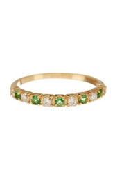 Savvy Cie Simulated White Diamond And Simulated Emerald Half Eternity Band Green