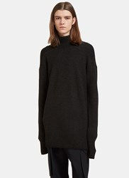 Rick Owens Oversized Roll Neck Ribbed Knit Sweater Black
