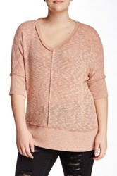 Bobeau V Neck Sweater Plus Size Pink