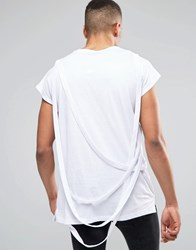 Asos Oversized Sleeveless T Shirt With Strapping In White White