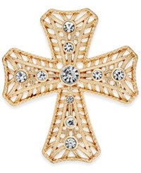 Charter Club Gold Tone Crystal Cross Brooch Only At Macy's