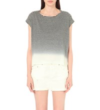 Allsaints Faded Stripe Print Cotton Blend T Shirt Ink Blue C.Whi