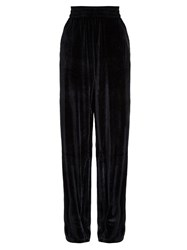 Vetements Velour Dropped Crotch Wide Leg Trousers Black