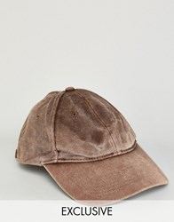 Reclaimed Vintage Washed Baseball Cap In Brown Brown