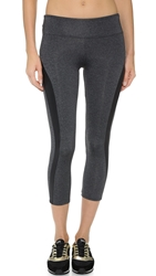 Solow Racer Stripe Capri Leggings Grey Black