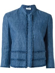 Akris Frayed Trim Jacket Blue
