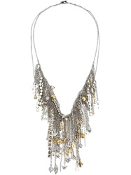 Vera Wang Charm Necklace Metallic
