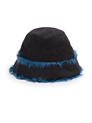 Dolce And Gabbana Wool And Shearling Bucket Hat Blue