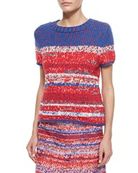 Tory Burch Short Sleeve Mercerized Cotton Pullover Women's Red Multi