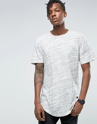Only And Sons Longline T Shirt With Curved Hem In Marl Off White