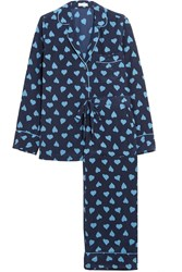 Equipment Avery Printed Washed Silk Pajama Set Bright Blue