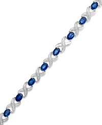 Macy's Sapphire 8 Ct. T.W. And Diamond Accent Xo Bracelet In Sterling Silver