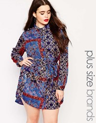 Ax Paris Plus Shirt Dress With Tie Wasit In Scarf Print Multi
