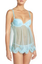 Women's Black Bow 'Allocen' Underwire Babydoll Chemise And Bikini Bridal Blue