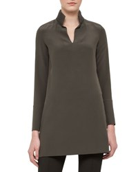 Akris Leather Trim Silk Shantung Tunic Turtle