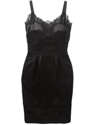 Dolce And Gabbana Lace Trim Strappy Dress Black