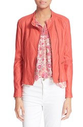 Women's Rebecca Taylor Washed Leather Moto Jacket Melon Pop